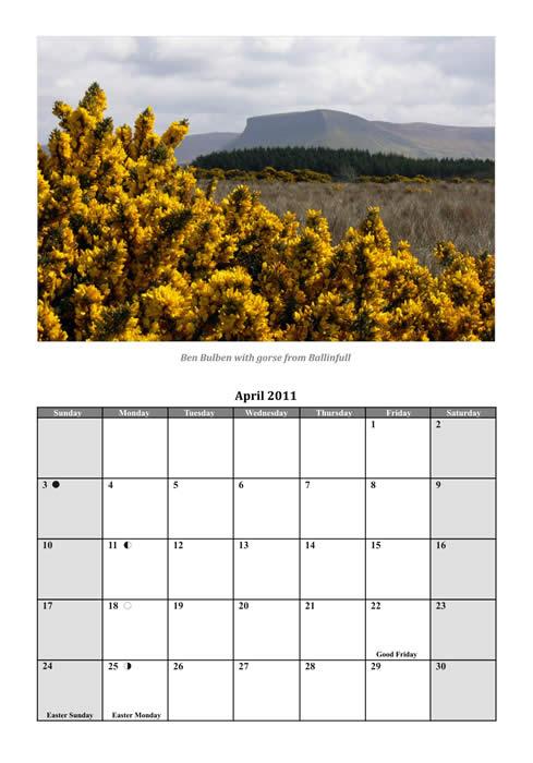 April 2011 Calendar. April 2011 sample page